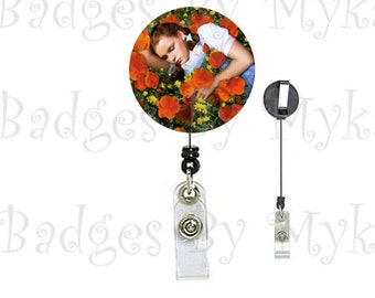 Retractable ID Badge Holder - Poppy Field and Dorothy