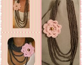 INSTANT DOWNLOAD - Trinity Crochet Chain Scarf PATTERN - Crochet Chain Infinity Loop Necklace Scarf With Flower pdf