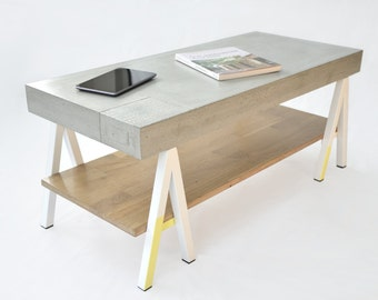 Coffee table / TV concrete, wood, metal white and yellow