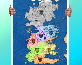 Game of Thrones Map Colour Houses - Art Print / Poster / Cool Art - Any Size