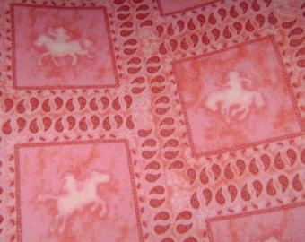 Pink horse fleece  blanket