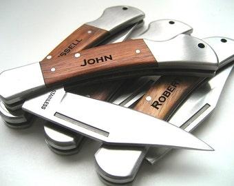 Engraved Knife - Wood Handle Pocket Knife – Set of 8 -  Personalized Groomsmen Gift - Monogrammed Engraved Pocket Knife - Wedding Party Gift