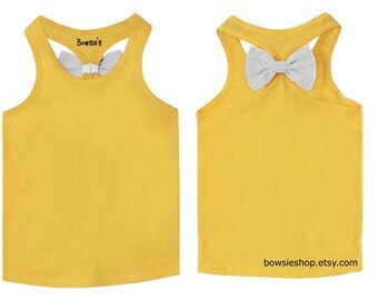 Yellow Tank Top with White Bow for Girls