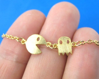Pac-Man and Ghost Arcade Game Themed Charm Bracelet in Gold | Namco Video Game Jewelry