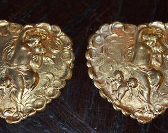 Vintage Pair of Scalloped Heart Cupid Angel Findings Stampings