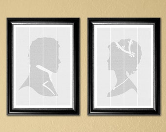 Pride and Prejudice, full-text pair, 2-18x24 in posters with half of the novel on each (Instant Download-Printable)