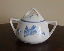 Royal Rudolstadt Prussia 'Flying Birds' Pattern Porcelain Sugar Bowl C1920s german art deco china  antique wedding present gift