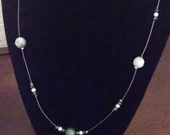 Blue and White Floating Necklace