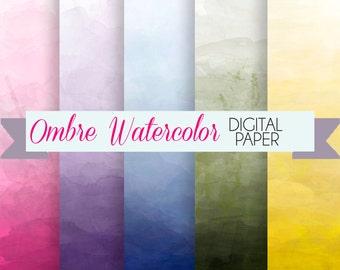 Ombre Watercolor Digital Paper set  - 5 Digital Backgrounds - for Scrapbooking, Crafts, Invitations, Digital Scrapbooking