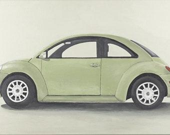 SALE! Green VW Beetle original painting