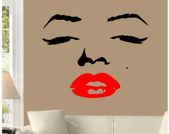 Marilyn Monroe Face Red Lips Wall Decal  Sticker Decor Home Art Deco Design Interior Quote CHOOSE SIZE DIY