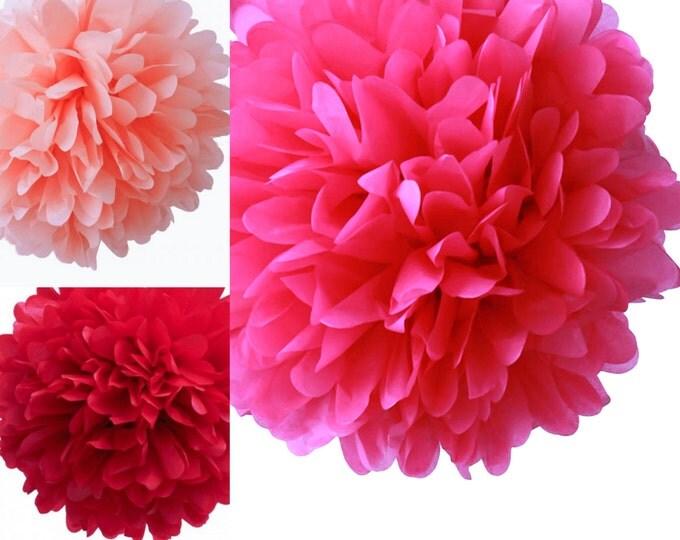 Hot Pink, Light Pink, and Red Poms | 3 tissue paper pom poms | Baby shower | Gender Reveal | Pastel Pink