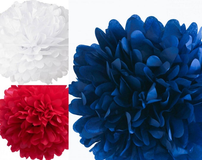 "Patriotic Pom Set, Set of three 18"" tissue paper pom poms, red, white and blue tissue poms, Fourth of July Decorations"