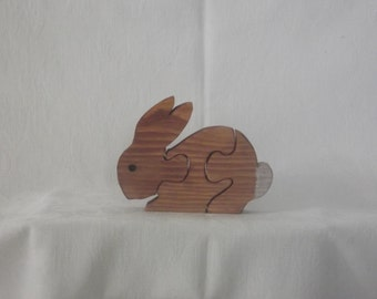 three piece puzzle, baby rabbit, choose a colour, will be made to order