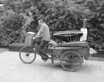 Cyclist with Vacuum in ChengDu, Black-and-White - Bike Photo - Black and White Photo - Black and White Bike Photo
