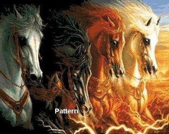 4 Horses of the Apocalypse. Cross Stitch Pattern. PDF Files.