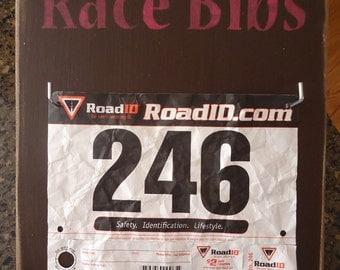 Race Bibs Display - Running Triathlon Ironman Marathon rustic board sign