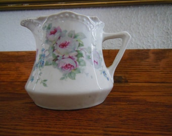 Zwickau Porcelain Factory Floral Creamer with Gold Trim
