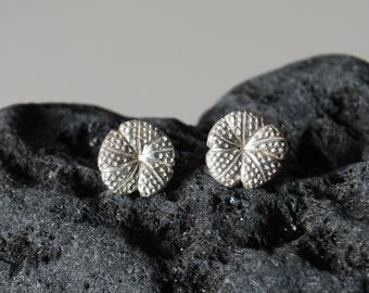 Sea Urchin fine silver stud earrings
