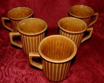 5 McCoy 1948 Mugs Golden Brown Ribbed Vintage Stoneware
