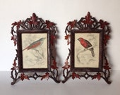 Antique Pair Carved Wooden Folk Art Frame with Leaves and Bird Illustrations