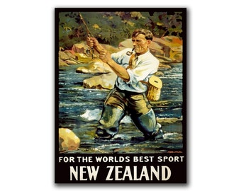 New Zealand Fly Fishing Travel Poster Fishing Art Retro Print (H177)