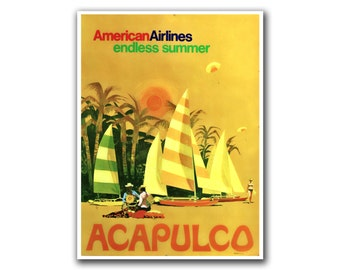 Mexico Travel Poster Home Decor Acapulco Wall Art Print (H147)