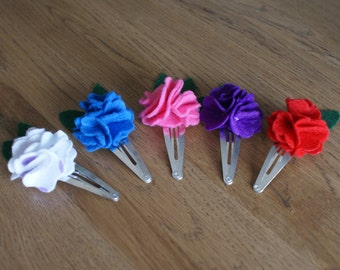 Hand-made flower hair clips in a range of colours