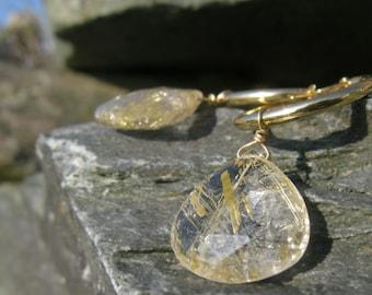 Rutilated Quartz Briolettes on Gold Hoop earrings