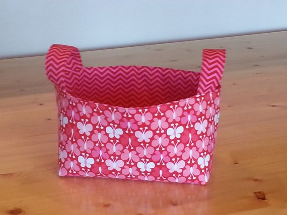 Medium Fabric Storage Bin Basket - Red Pink and White Butterfly with Chevron
