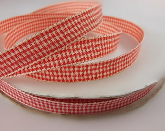 Red Gingham Ribbon 3/8'' 33COLORS