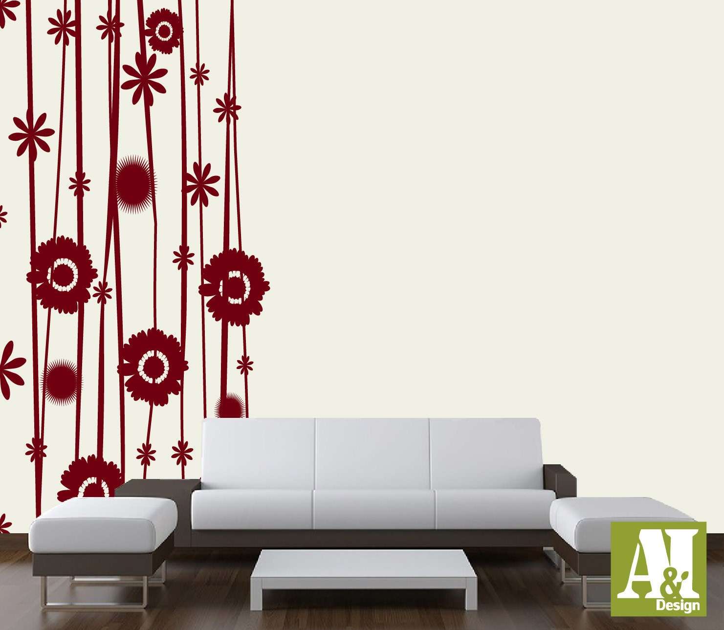Fleur panneau mural autocollant salon chambre vinyle par a8idesign - Panneau mural chambre ...
