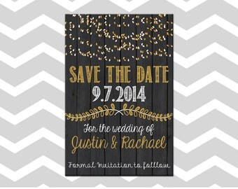 Wedding Save The Date Card/Invitation With Wood and Lights