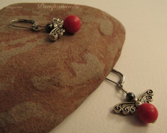 2904 - Earrings Red Pearl, Butterfly and Hematite