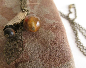 2445 - Smoked Crystal Pendant, Wood