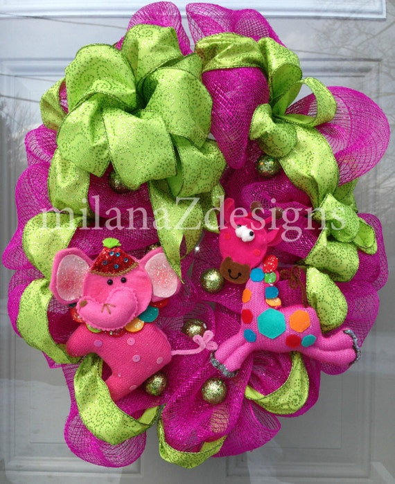 Circus Baby Shower Wreath, Pink Elephant and Giraffe, Girl First