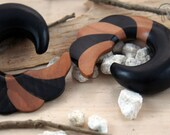 """Two Toned Ebony and Sono Wood Striped Swirl Hangers (Pair) 5mm (4g) 6mm (2g) 8mm (0g) 10mm (00g) 12mm (1/2"""") 14mm (9/16"""") 16mm (5/8"""")"""
