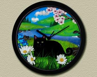 Black Cat Sprint River Wall Clock