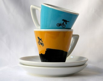 Mountain Bikes - Set of 2 - Espresso Cups and Saucers