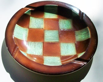 1950's Style / Ceramic Glazed / Vintage Ashtray / Green and Brown Checkered Pattern