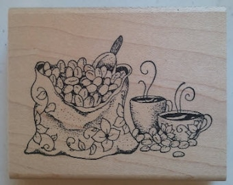 Coffee Bean Sack Rubber Stamp - 155M07