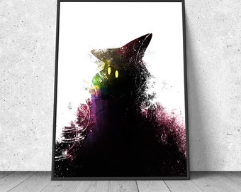 Final Fantasy, Black Mage, watercolor illustration, giclee art print, silhouette, wall decor