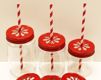Plastic Mason Jars,6 Plastic Mason Jars and Lids,17 oz Mason Drink Jars, Plastic Kids Cups,Mason Flower Jars,Daisy Jar Lids,DIY Wedding Jars