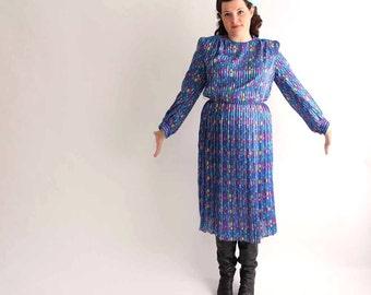 1980s dress . colorful vintage pleated secretary dress / blue colorblock dress - womens medium large mid length dress