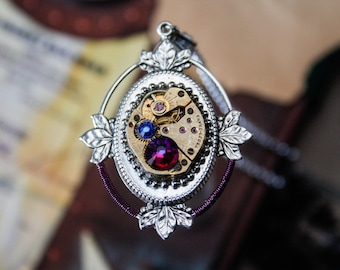 50% OFF Steampunk filigree pendant with genuine vintage watch and swarovski crystals wrapped with purple metal wire
