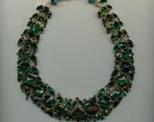 RESERVED  AMAZING 1950s Emerald Green Rhinestone Necklace-Unsigned Schreiner of New York
