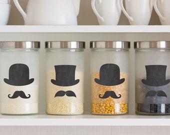 Top Hat and Mustache Chalkboard label –  sticker labels,  labels for jars, kitchen labels, kitchen organization, jar labels, chalkboard tags