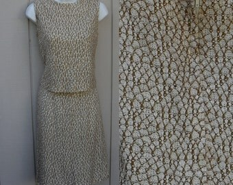 Vintage Cream and Light Brown 2 Piece Dress / 60s Mod Stretch Knit Shell top and Straight Skirt outfit // Sz Small to xs