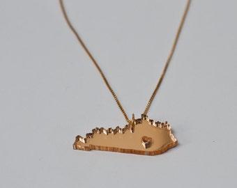 Gold Kentucky Necklace - Mirrored Gold Kentucky State Necklace Kentucky Derby State Charm KY State Necklace Kentucky Necklace With Heart
