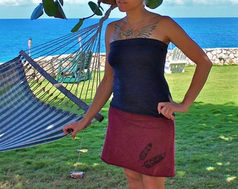 Organic Skirt - Organic Cotton and Hemp Feathers print Skirt Handmade - Custom made for you and great for layering